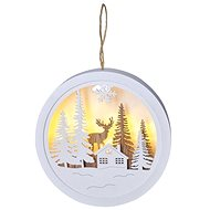 LED Hanging Decoration, Forest and Deer, White and Brown, 2x AAA - Christmas Lights