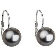 Grey pearl earrings decorated with Swarovski crystals 31143.3 (925/1000, 2.7g) - Earrings