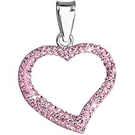 Rose Heart Charm Decorated With Swarovski Crystals 34093.3 (925/1000; 0.8g) - Charm