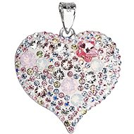 Magic Rose Heart Charm decorated with Swarovski Crystals 34181.3 (925/1000, 7.6g) - Charm
