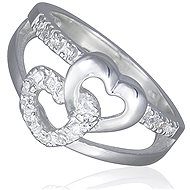 Silver Ring with Two Hearts and Zircons (925/1000, 3.5-3.9g), White - Ring