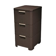 Curver Rattan Style Cabinet 3x14L Dark Brown - Storage Box