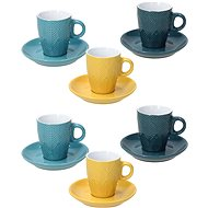 Tognana RELIEF MAYA Set of 6 Coffee Cups 90ml with Saucers - Cup & Saucer Set