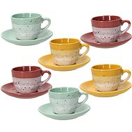 Tognana Set of 6 Coffee Cups 90ml with Saucers LAYERS GI-VE-MA - Cup & Saucer Set