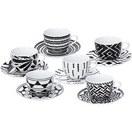 Tognana Tea Set with Saucers, 220ml, METROPOLIS MANDALA, BLACK - Cup & Saucer Set