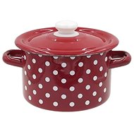TORO Enamel Pot with Lid, 2l, Polka Dot Decor - Pot