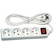 Solight Extension Lead, 4 sockets, white, switch, 5m - Extension Cord