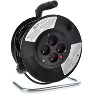 Solight Extension Cord on Reel, 4 Sockets, Black, 25m - Extension Cords