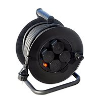 Solight Extension Cable Reel, outdoor, 4 sockets, black, 50m - Extension Cord