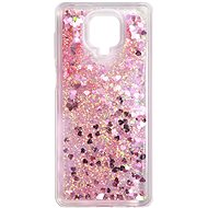 Mobile Case iWill Glitter Liquid Heart Case for Xiaomi Redmi Note 9 Pro, Pink - Kryt na mobil