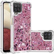 iWill Glitter Liquid Heart Case for Samsung Galaxy A12, Pink - Mobile Case