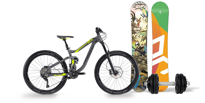 Mountain bike, snowboard, dumbbell