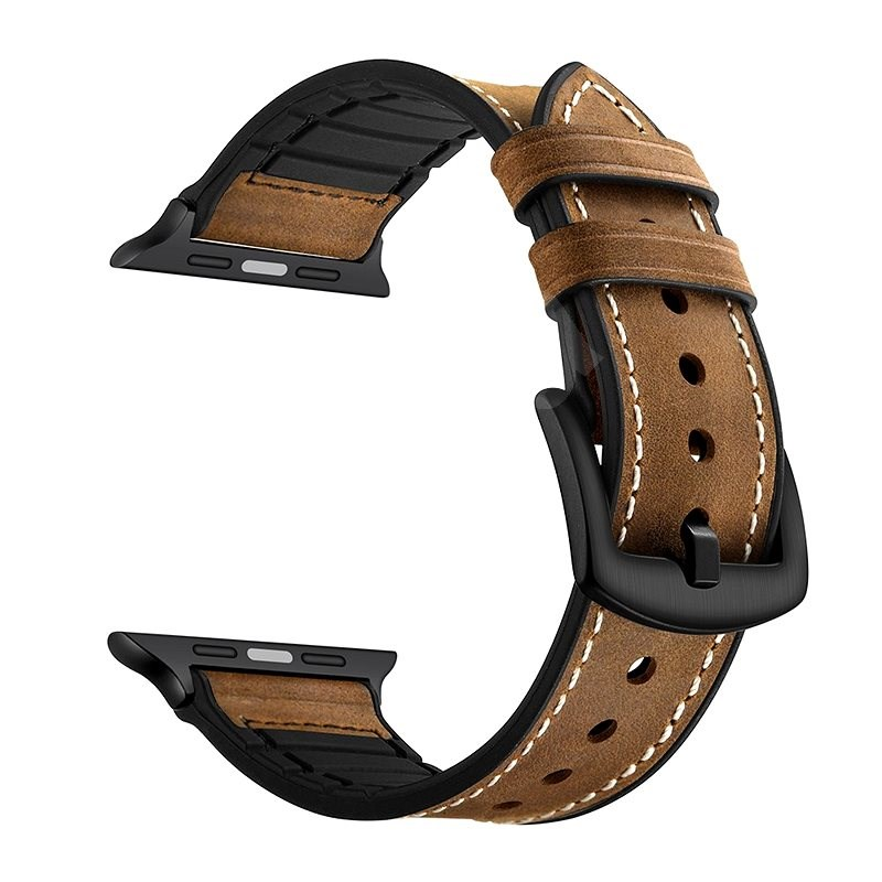 Eternico 42mm / 44mm / 45mm Leather and Silicone Band Brown for Apple Watch - Watch Band