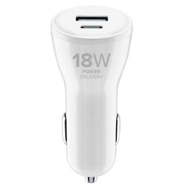 Cellularline Dual with USB-C and USB connector 30W white - Car Charger