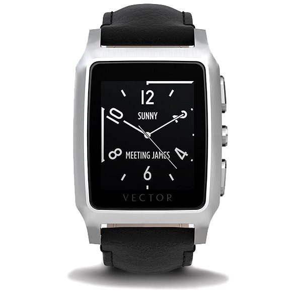 Vector Meridian brushed steel with a black leather strap Small Fit - Smartwatch