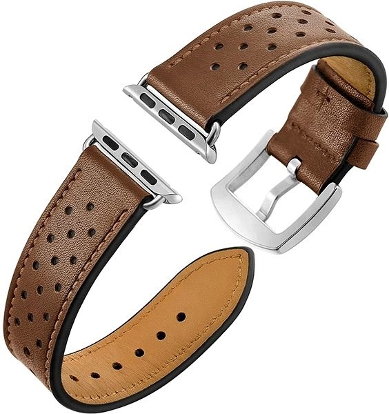 Eternico 42mm Apple Watch Leather Band, Brown - Watch band