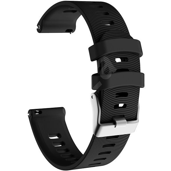 Eternico Garmin Quick Release 20 Silicone Band Steel Buckle, Black - Watch band