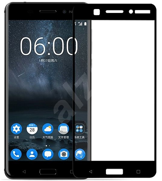 Screenshield NOKIA 6 (2017) Tempered Glass Protection (full COVER black) on the screen - Glass protector