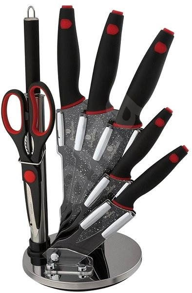 BerlingerHaus Set of knives in stand 8pcs Black Stone Touch Line - Knife Set