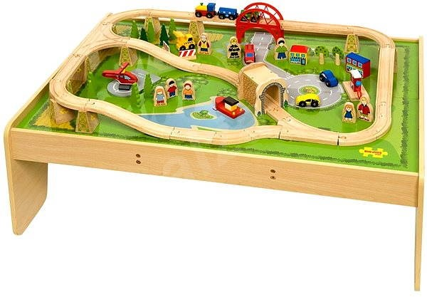 Bigjigs Wooden Train Set With Table And 59pcs Railway Set Alza