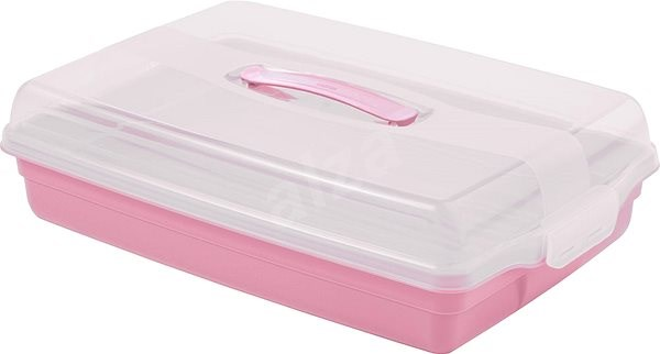 CURVER PARTY BOX Rectangular Tray with Cover, 45 x 11.1 x 29.5cm, Pink - Tray