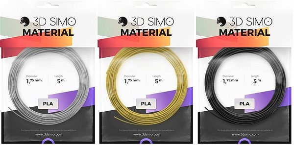 3DSimo Filament PLA - black, gold, grey 15m - 3D Pen Filament