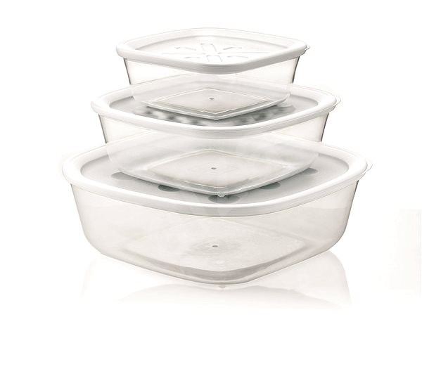 forme casa Set of 3 Containers in Transparent Plastic, 570ml, 1400ml, 2950ml - Food Container Set