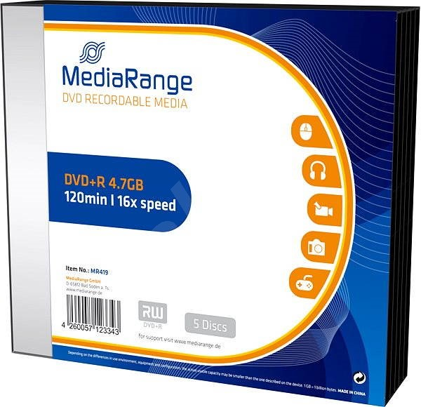 MediaRange DVD + R 5pcs in SLIM box - Media