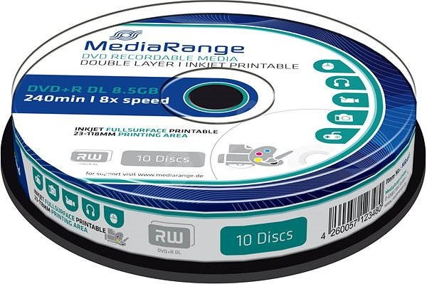 MediaRange DVD+R Dual Layer Printable 10pcs cakebox - Media
