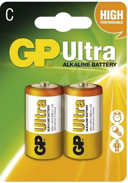 GP Ultra Alkaline LR14 (C) 2 pcs in a blister pack - Disposable batteries
