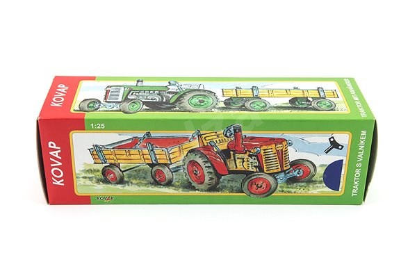 Kovap Tractor with flatbed trailer in blue - Metal Model