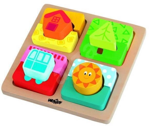 Woody Board with Puzzle Shapes - The Sunny Home - Educational toy
