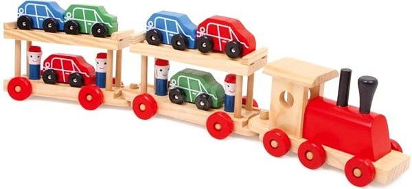 Wooden Train Engine Transporter and Cars Wagons Train