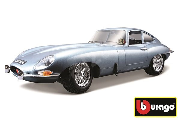 Bburago Jaguar E Coupe Metallic Silver Blue - Model