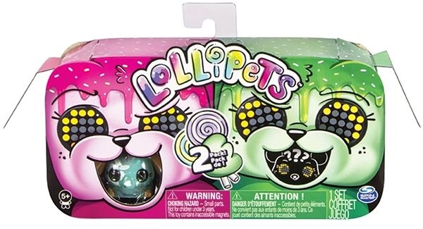 Zoomer Lollipets, Two-Pack, Mini Interactive Collectible Pets with Sweet-Shaped Accessory Pink Green - Interactive Toy