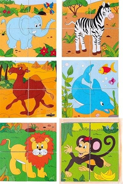 Woody Kubus 2x2 Safari - Picture Blocks
