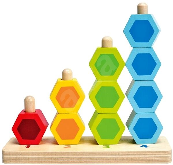 Hape Threaded Colourful Hexagonal Shapes - Wooden Toy