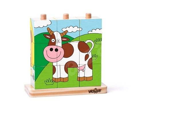 Woody Cube Puzzle on Pegs, Pets - Picture Blocks