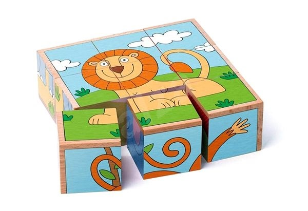 Woody Cubes 3 x 3 - Exotic animals - Picture Blocks