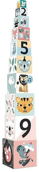 Vilac Nesting Cubes with Animals and Numbers - Picture Blocks