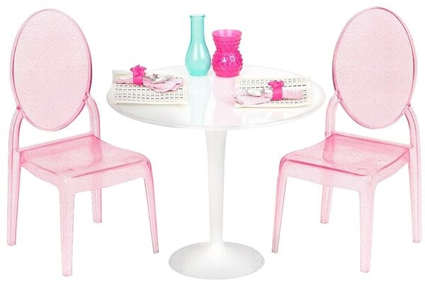 Our Generation Table for Two - a luxurious transparent table with chairs - Doll Accessory