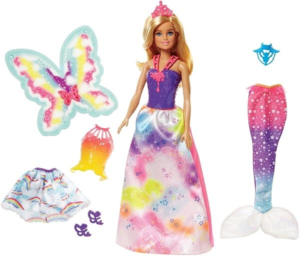 Barbie Dreamtopia Doll with 3 Fairytale Costumes - Doll