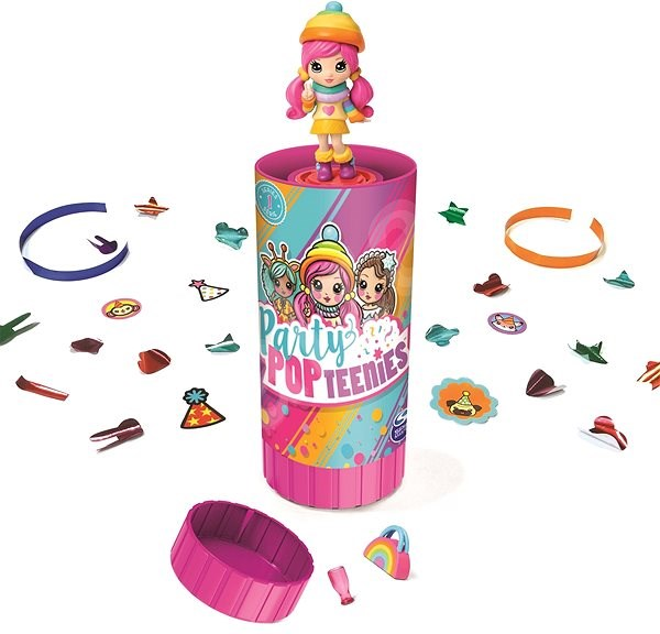 Pog Party Teenies Tube with Confetti and Doll - Game Set