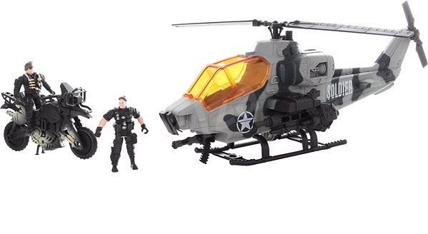 Military Helicopter and Motorbike - playing kit