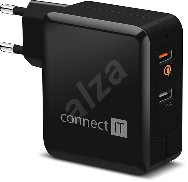 CONNECT IT 2×Wall Charger QUALCOMM QUICK CHARGE 3.0 Black - Charger