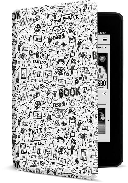CONNECT IT CEB-1043-WH for Amazon NEW Kindle Paperwhite 2018, Doodle white - E-book Reader Case