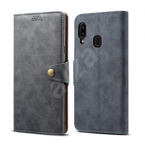 Lenuo Leather for Samsung Galaxy A20e, Grey - Mobile Phone Case