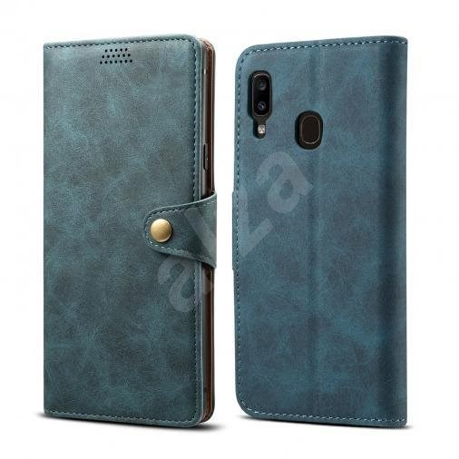 Lenuo Leather for Samsung Galaxy A20e, Blue - Mobile Phone Case
