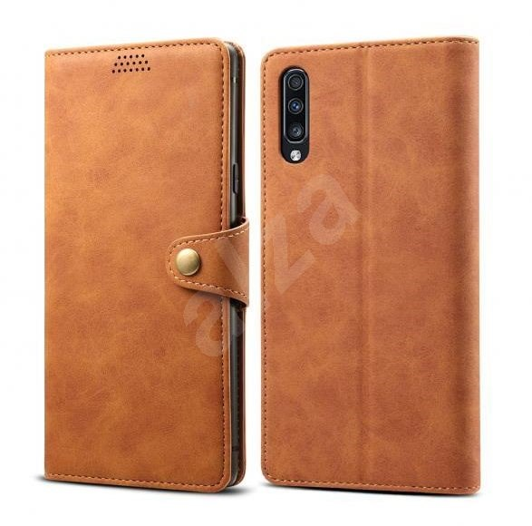 Lenuo Leather for Samsung Galaxy A70, Brown - Mobile Phone Case