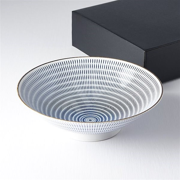 Made In Japan Large Bowl with blue lines 25cm 1.2l - Bowl